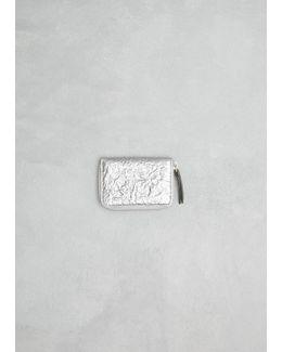 Silver Small Mirrored Zip Around Wallet