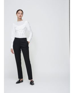 Optic White Long Sleeve Crop Wrap Top