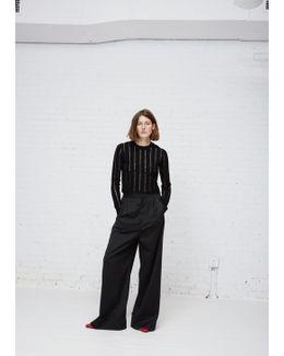 Black Striped Cropped Knit