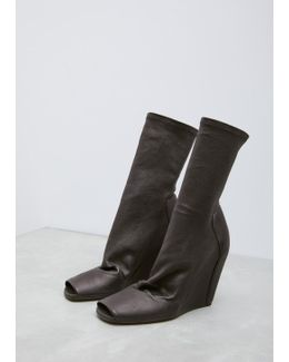 Black Sock Wedge Boot