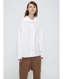 White Y-asymmetry Collar Blouse