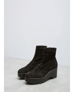 Black Suede Slip On Wedge Ankle Boot