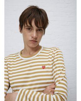 White & Mustard Stripe Tshirt