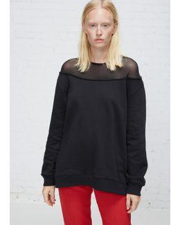Black Mesh Neck Sweatshirt