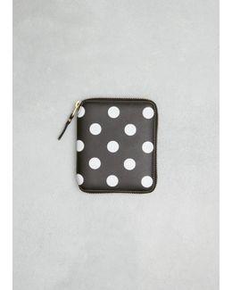 Black Dots Print Leather Line Wallet