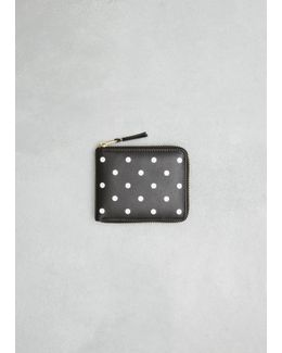 Black Dots Printed Leather Line Zip Wallet