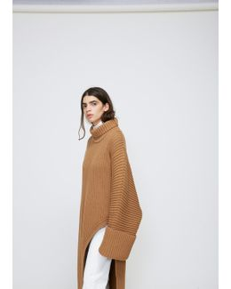 Dark Brown Asymmetrical Knit Tunic