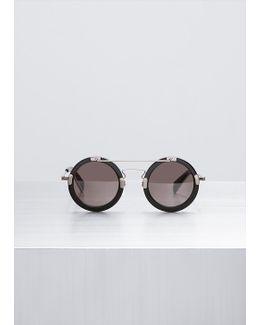 Black Aviator Round Sunglasses