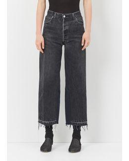Black High Rise Wide Leg Crop No Destruction Jean