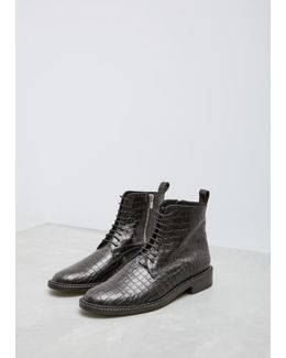 Black Croc Embossed Jace Ankle Boot