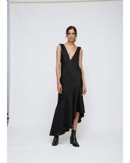 Black Low V-neck Bias Cut Asymmetrical Hem Dress