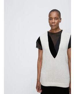 Ivory Vneck Knit Vest
