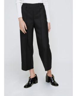 Black Elasticated Cropped Pant