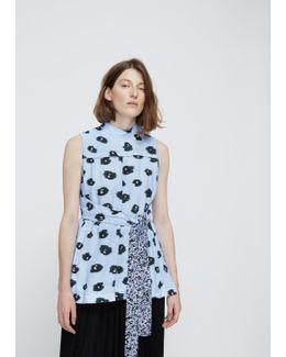 Pale Blue / Deep Pine / Black Print Printed Tie-front Top