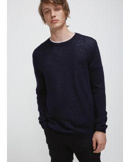 Dark Blue Light Wool Crew Neck Sweater