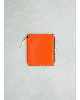 Light Orange Super Fluo Leather Line Wallet