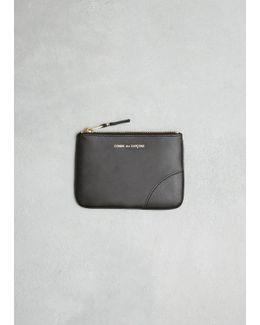 Black Classic Leather Line Zip Pouch