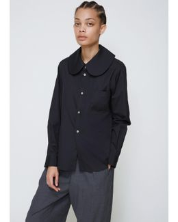 Black Long Sleeve Rounded Collar Shirt