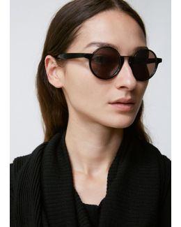 Black Half Rim Round Sunglasses