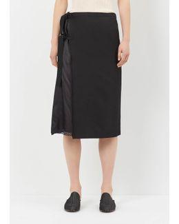 Black Side Tie Silk Gaberdine Skirt