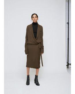 Khaki Long Sleeve Wrap Dress
