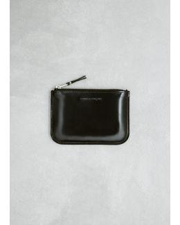 Black / Silver Mirror Inside Zip Pouch