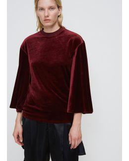 Dark Red Velour Bell Sleeve T-shirt
