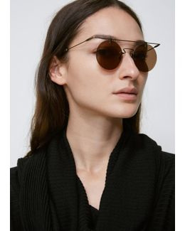 Dirty Gold Rimless Wire Top Round Sunglasses