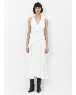 White Sleeveless Cut Out Long Dress