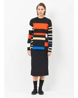 Blackorange/electric Blue Long Sleeve Crewneck Sweater