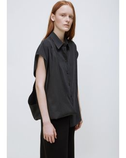 Black Sleeveless Twist Shoulder Button Down