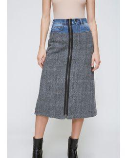 Grey Denim And Tweed Combo Skirt