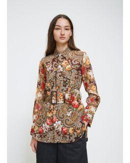 Brown Floral Belt Work Blouse