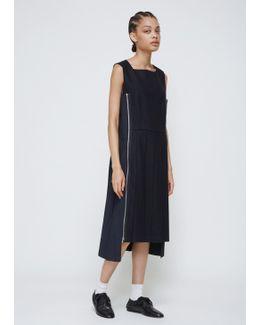 Black Navy Sleeveless Pleated Dress