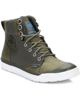Mens Army/green/white Pallarue Hi Cuff Wp Boots