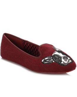 Womens Burgundy Red Ayaya Wool Slippers