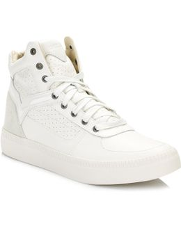 Mens White S-spaark Mid Trainers