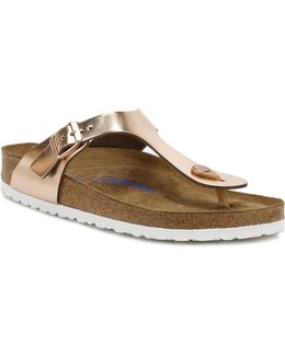 Womens Metallic Copper Gizeh Sandals