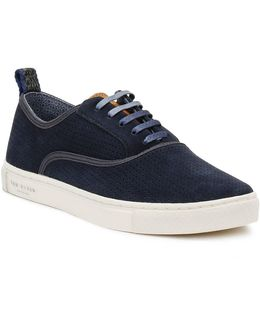 Mens Dark Blue Odonel Perforated Suede Trainers