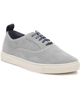 Mens Light Grey Odonel Perforated Suede Trainers