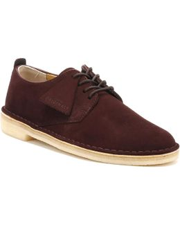 Mens Burgundy Suede Desert London Shoes
