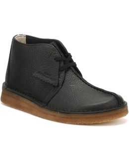 Mens Black Leather Desert Trek Boots