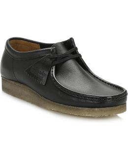 Originals Mens Black Wallabee Smooth Leather Shoes