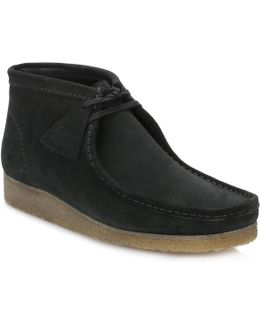 Mens Black Wallabee Suede Boots