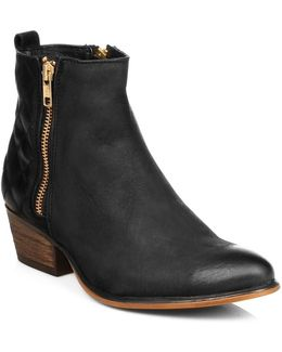 Womens Black Nyrvana Leather Zip Ankle Boots