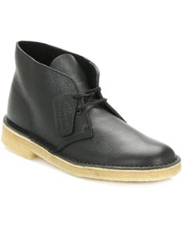 Mens Black Desert Tumbled Leather Desert Boots