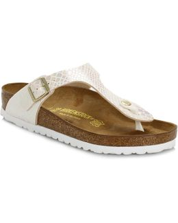 Womens Cream Birko-flor Gizeh Shiny Snake Sandals