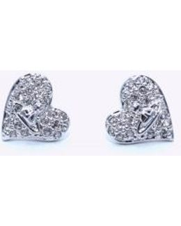 Tiny Diamante Heart Studs