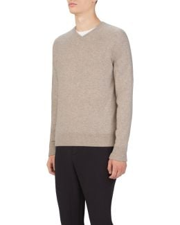 Men's Uas Gridknit Cashmere V-neck Sweater