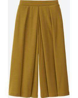 Women Jersey Cropped Flare Wide Pants